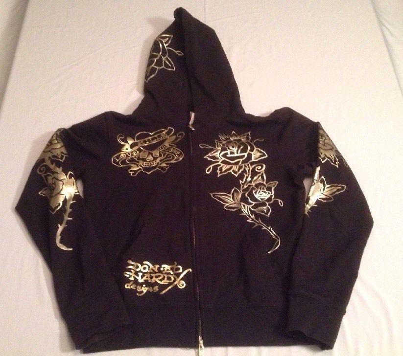 23fb5af5 Don Ed Hardy Women's Embellished Rhinestone Black Hoodie Size Small ...