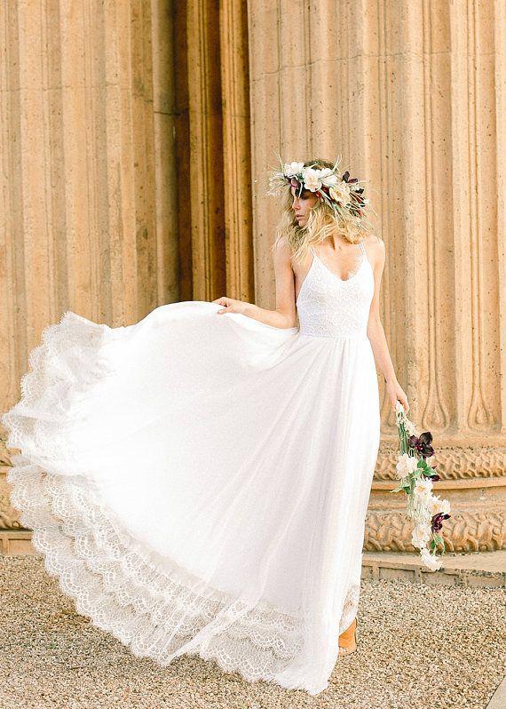 Silk Chiffon and Stretch Lace Beach Wedding Dress, Beach Wedding ...