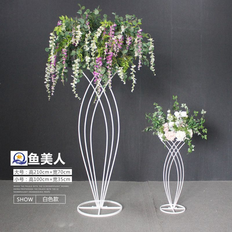 Photo of Metal flower stand for wedding party event decoration, wedding walkway, wedding …