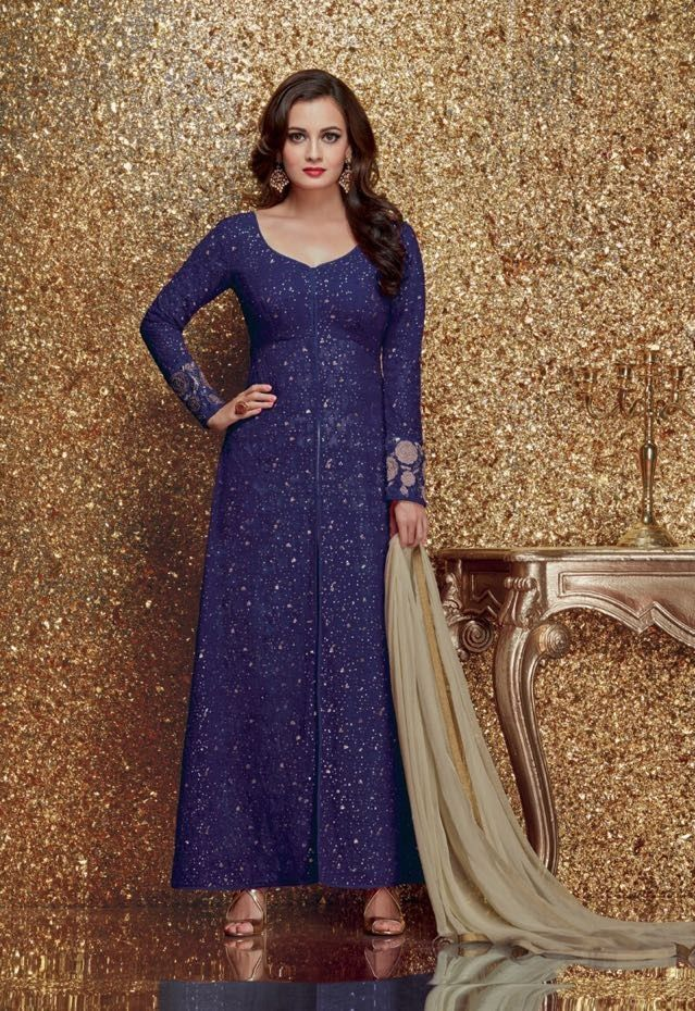 cb9f1f56515 Shop Dia mirza blue color georgette designer party wear suit online at  kollybollyethnics from India with free worldwide shipping.