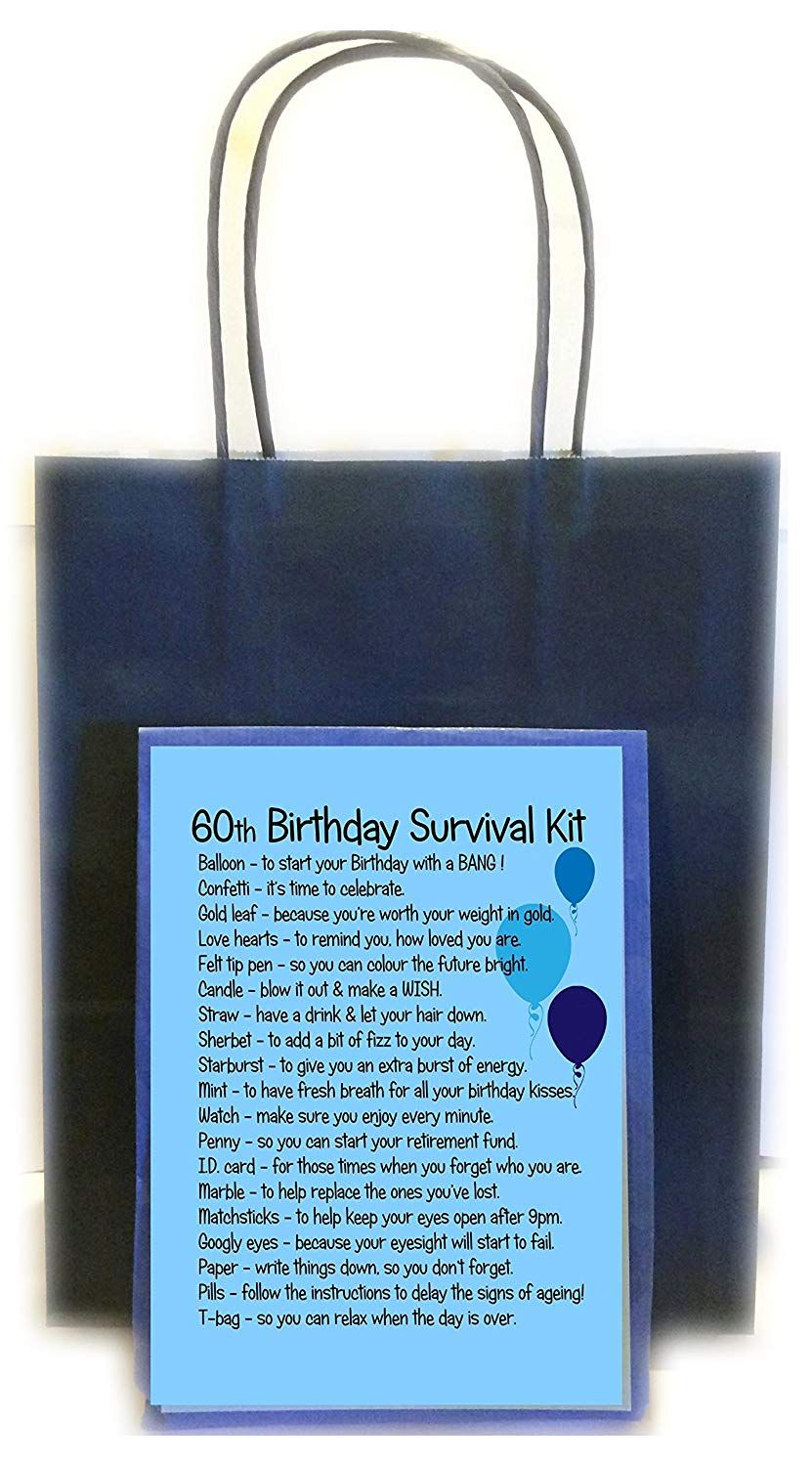 60th birthday survival kit gift blue amazoncouk office