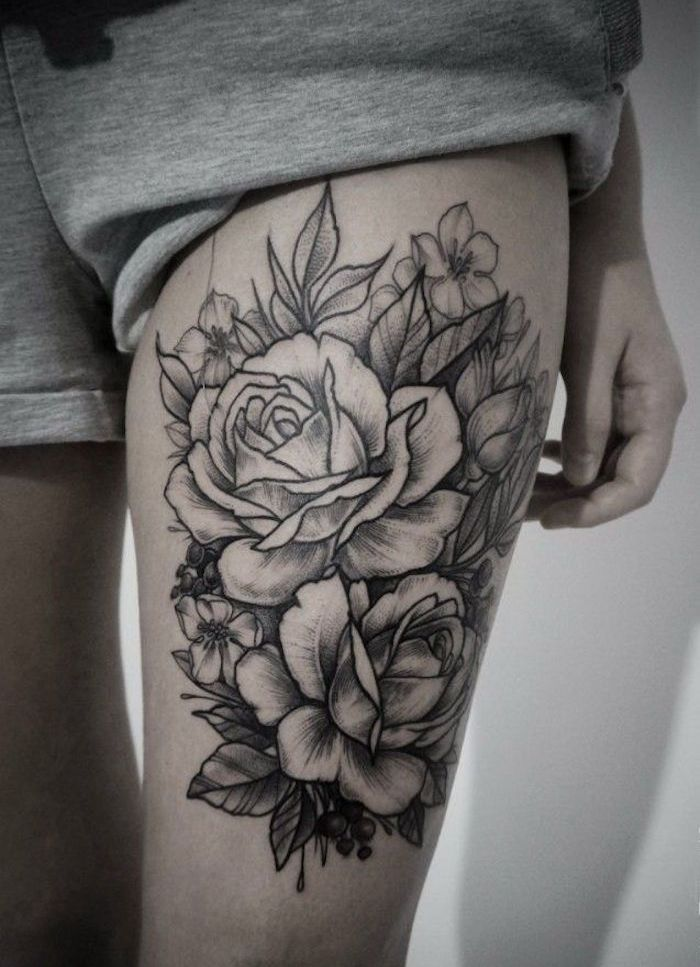 tattoo cuisse 48 tatouages de caract re tatouage roses cuisse jambe thigh tattoo 39 s. Black Bedroom Furniture Sets. Home Design Ideas