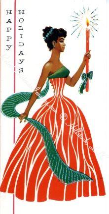 Retro African American Christmas Vintage Card 1950s Christmas