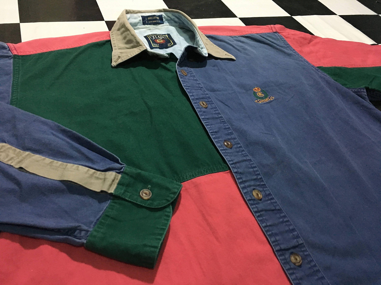 Lauren Long Button Chaps Shirt Sleeve Block Color Ralph Vintage Up ZPuTXOki