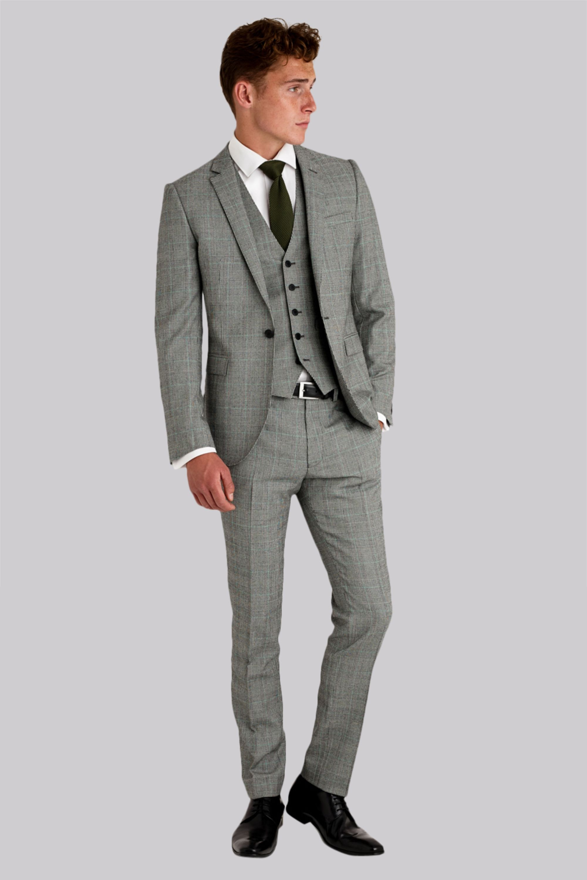 2c28b761373d Moss London Slim Fit Black and White with Green Check 3 Piece Suit ...