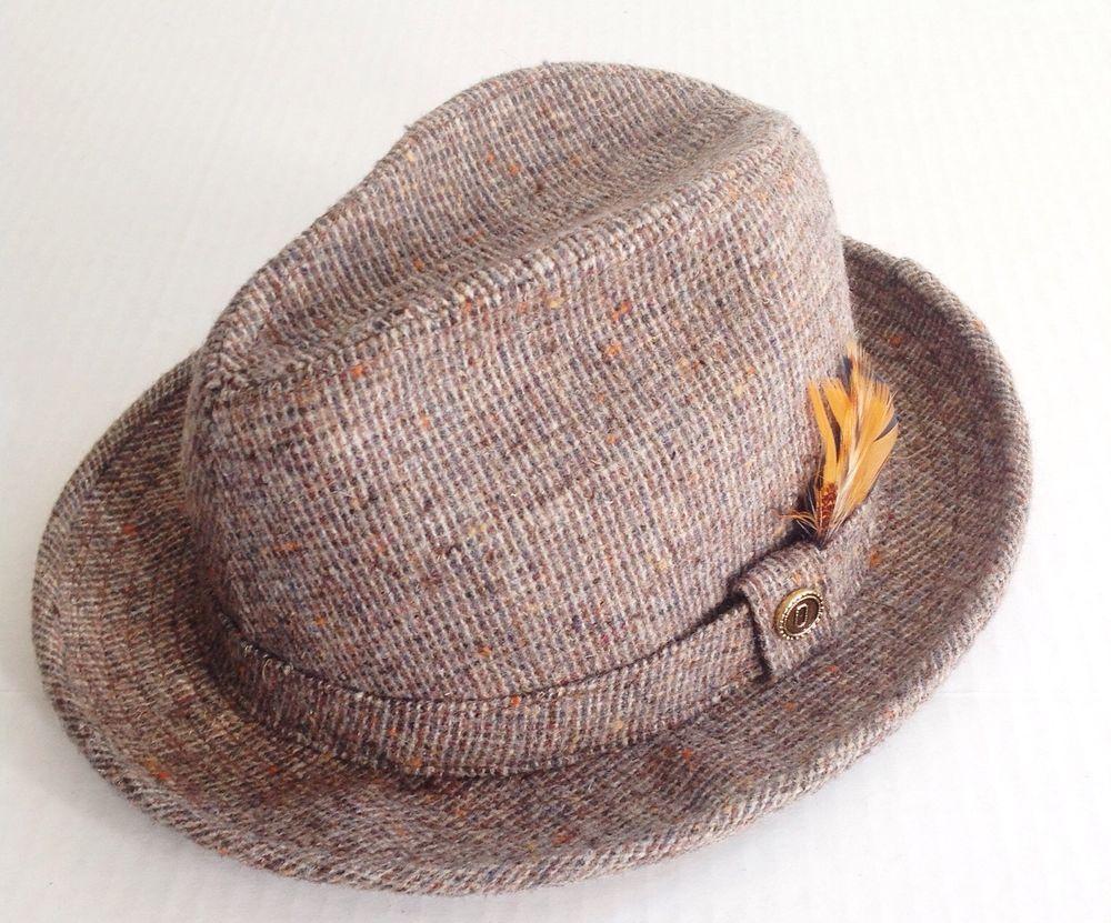 c3559c2438893 Pendleton Mens Vintage Brown Tweed Pure Virgin Wool Fedora Hat Feathers 7  1 8  Fedora