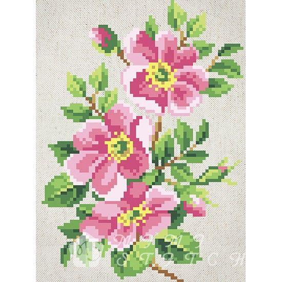Канва с рисунком для бисера Шиповник Т-0602 #beads #beadwork #embroidery #mimistitch