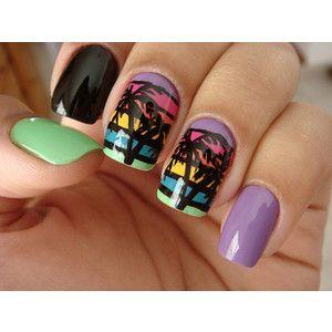 pinceli morales on nalis♡  palm tree nails nails