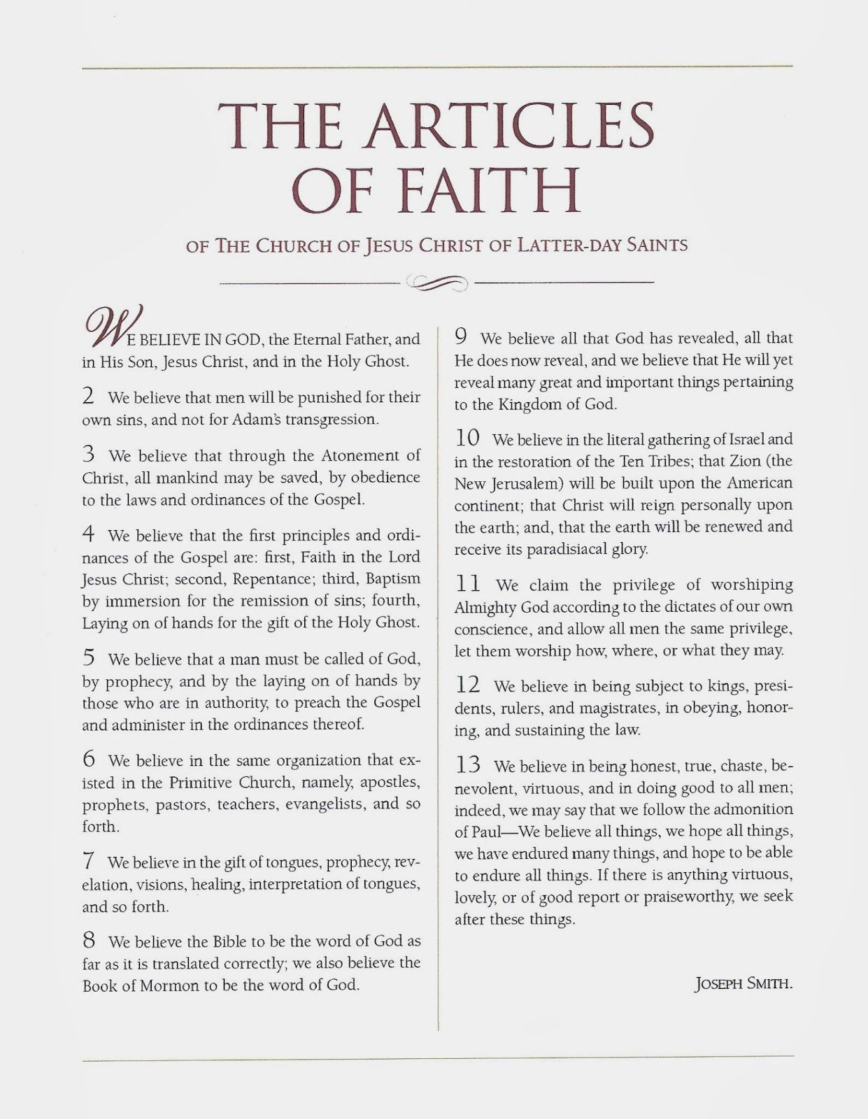 Articles Of Faith Worksheets