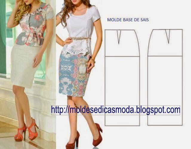 MOLDE BASE DE SAIA GRÁTIS | patrones | Pinterest | Sewing, Sewing ...