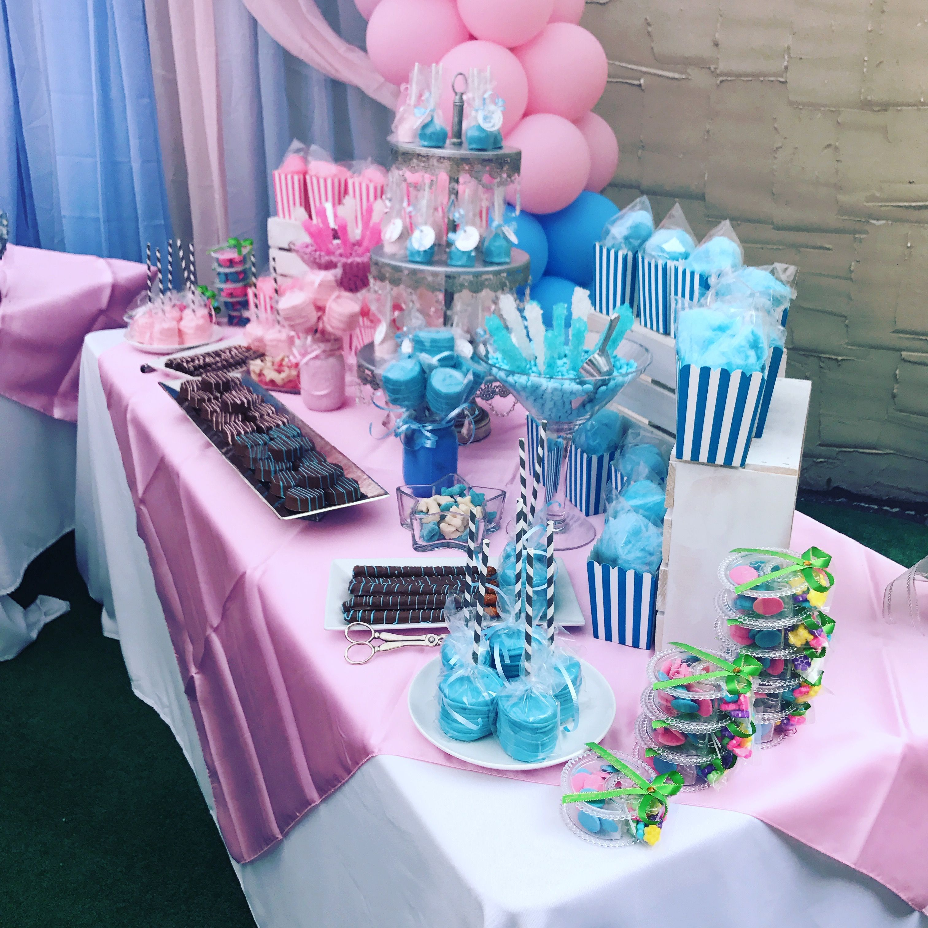 Baby Shower Reveal Party: Baby Shower Candy Table That We Made For A Gender Reveal