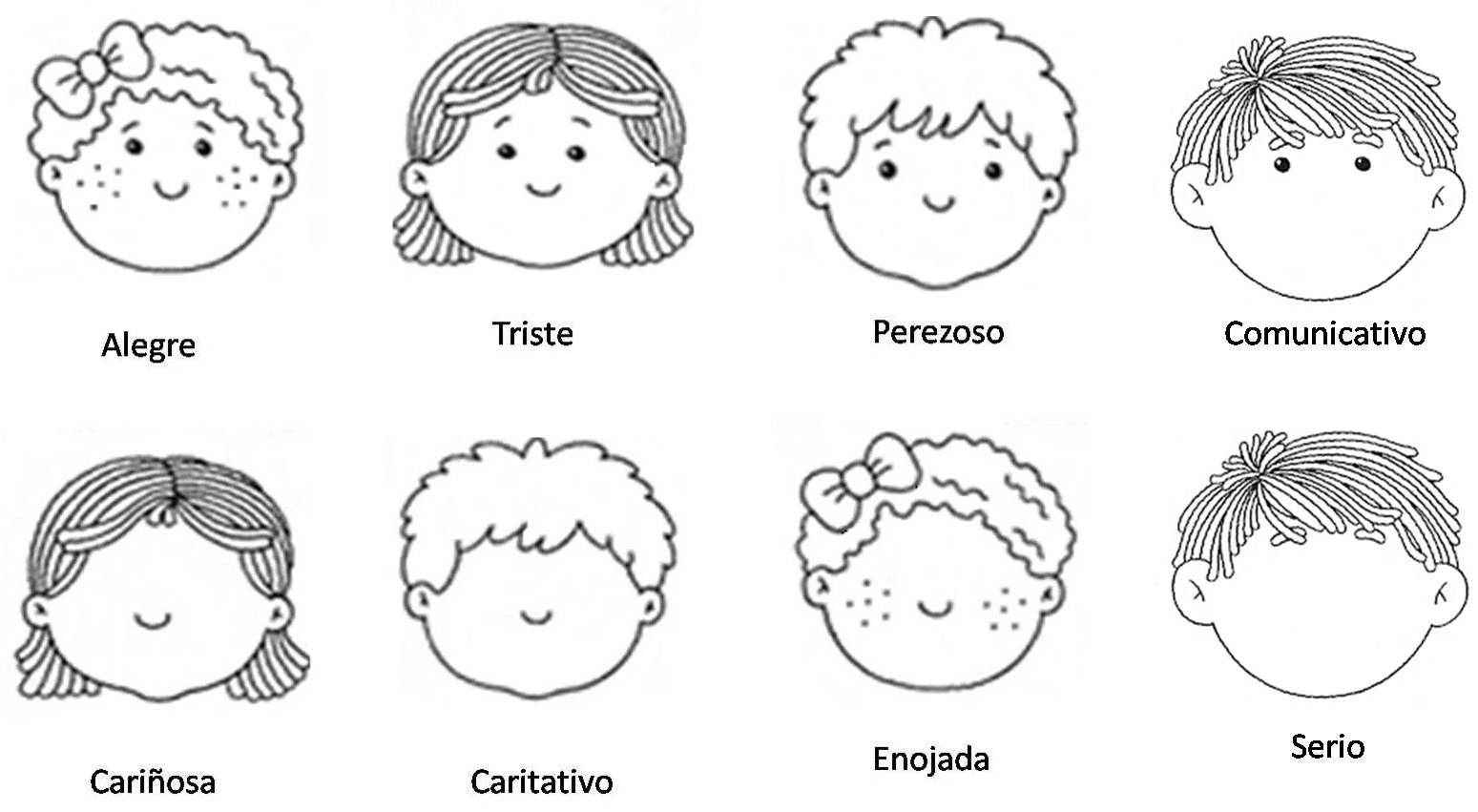 Dibujos Caras De Niños Felices Animadas: Cara De Niños Felices Para Colorear