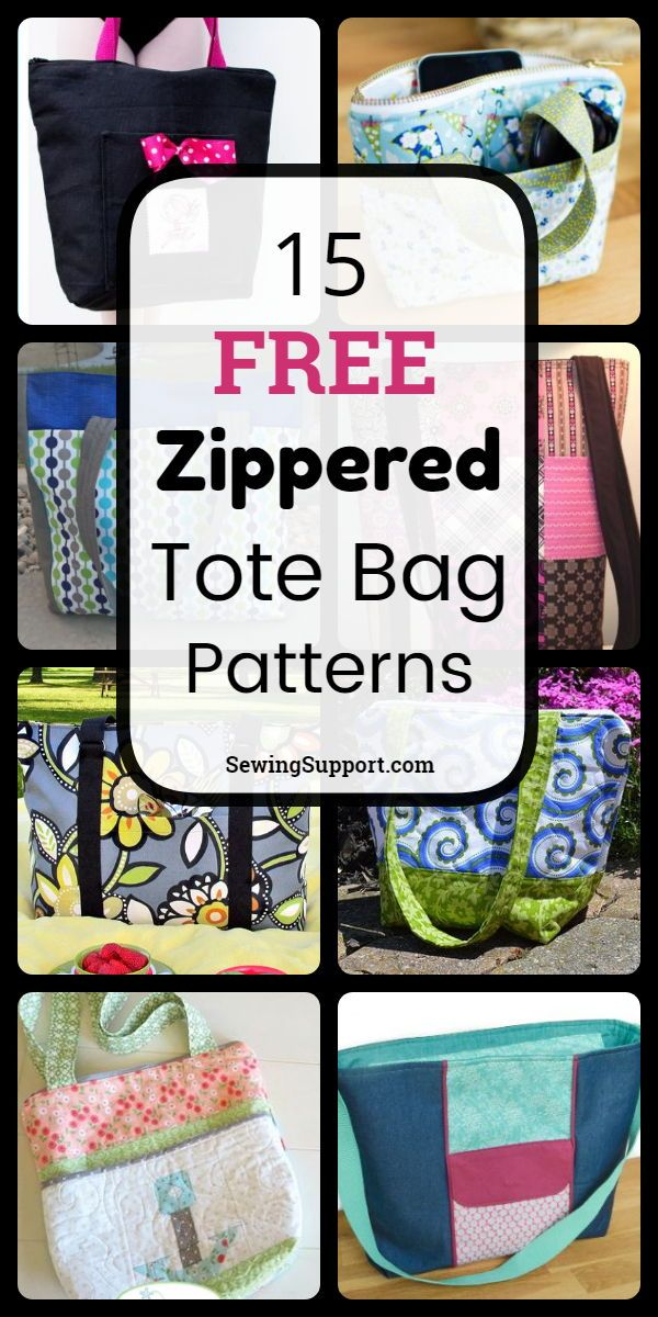 15 Free Zippered Tote Bag Patterns, tutorials, and diy sewing projects. Lined styles, large and small. #sewingsupport #bagpatterns #sewingpatterns #sewingprojects #pattern #tutorial #bagpatterns