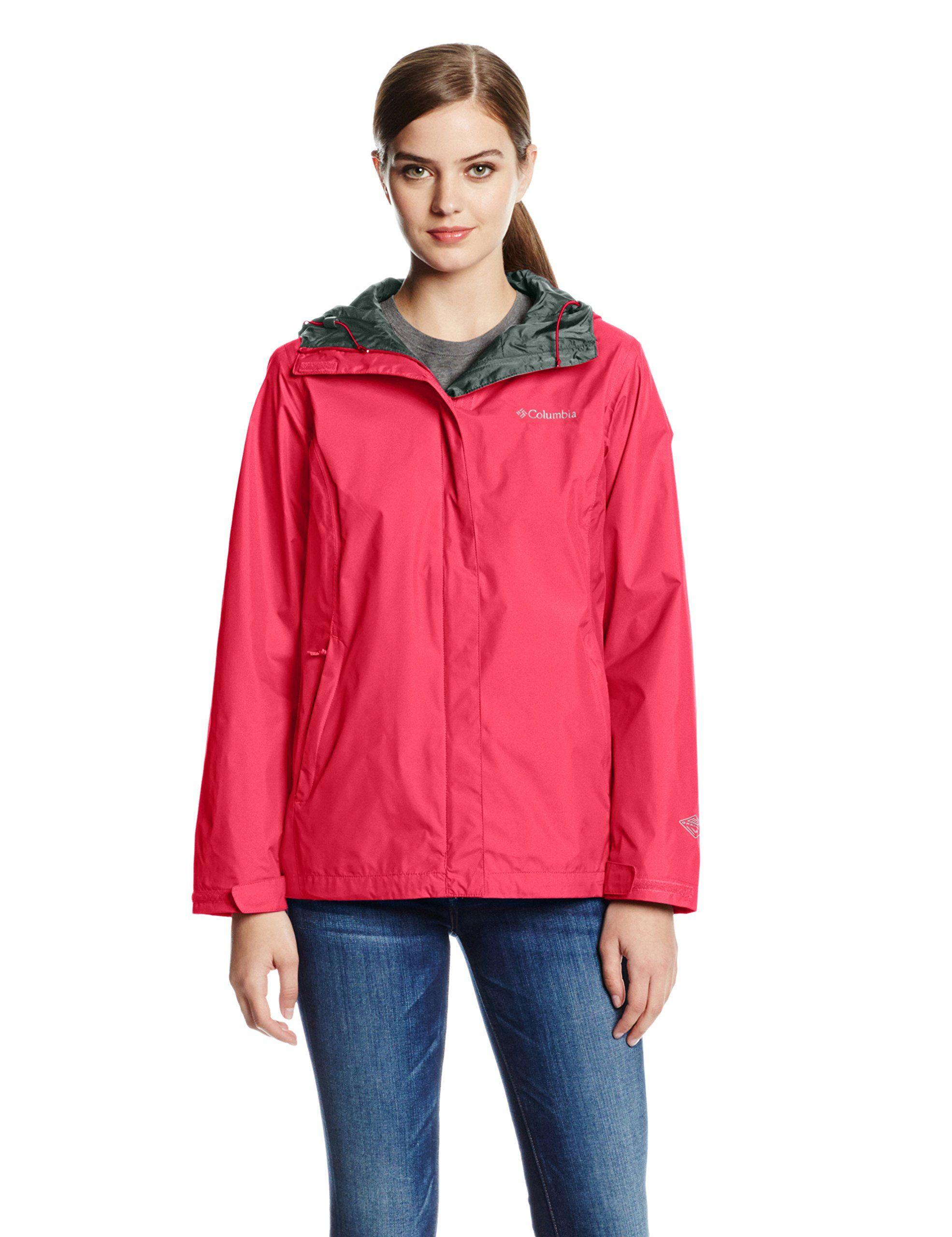 Columbia Women S Arcadia Ii Jacket Red Camellia M Omni Tech Waterproof Breathable Full Waterproof Breathable Jacket Jackets For Women Waterproof Rain Jacket