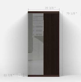 Attrayant Pax Wardrobe From Ikea. Black Brown Cabinet With Full Length Mirror Door.