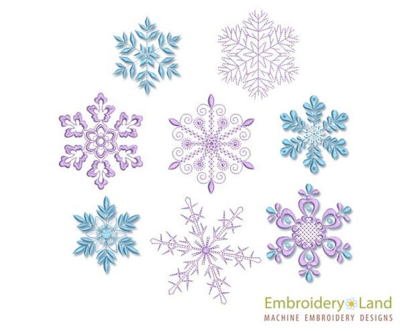 Snowflake Embroidery Applique Design-Christmas Embroidery-Frozen Snow Flake Machine Embroidery Patterns-Instant Download-PES