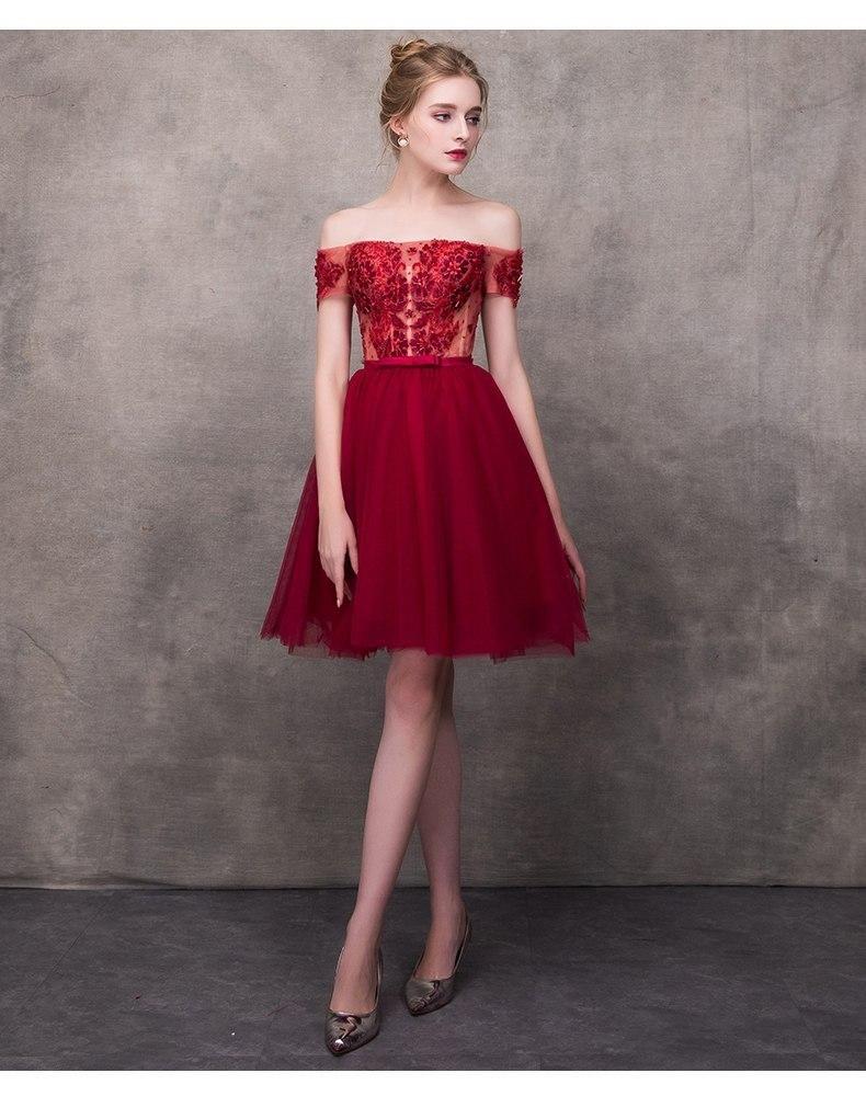 Wine Red Elegant Cocktail Dresses A-line Short Sleeves Short Mini