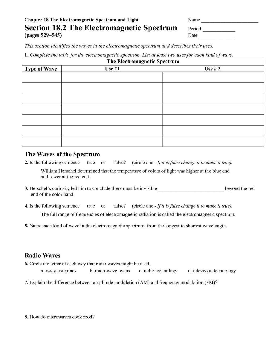 The Electromagnetic Spectrum Worksheet Answers Electromagnetic Spectrum Chemistry Worksheets Worksheets