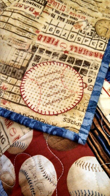 Label on baseball quilt