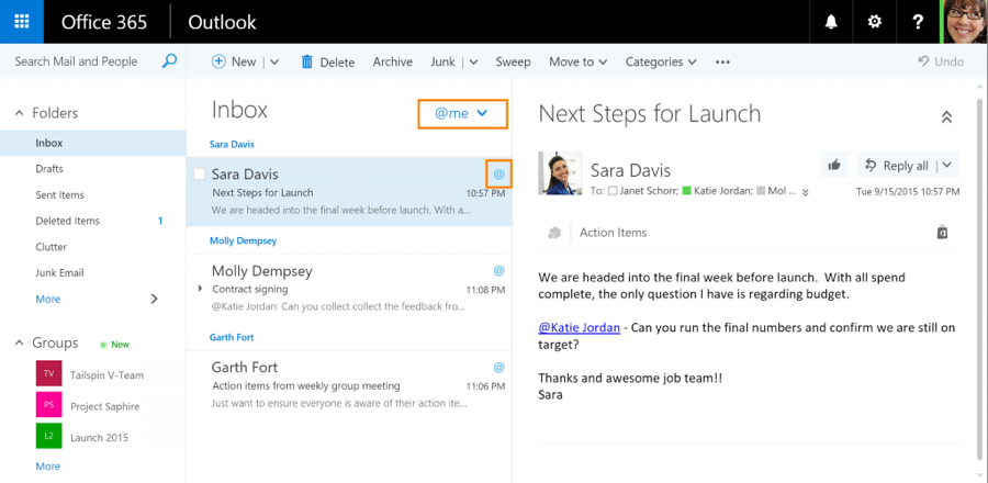 Outlook Brings Likes And Mentions Into The Workplace Microsoft Outlook Outlook Email Bring It On