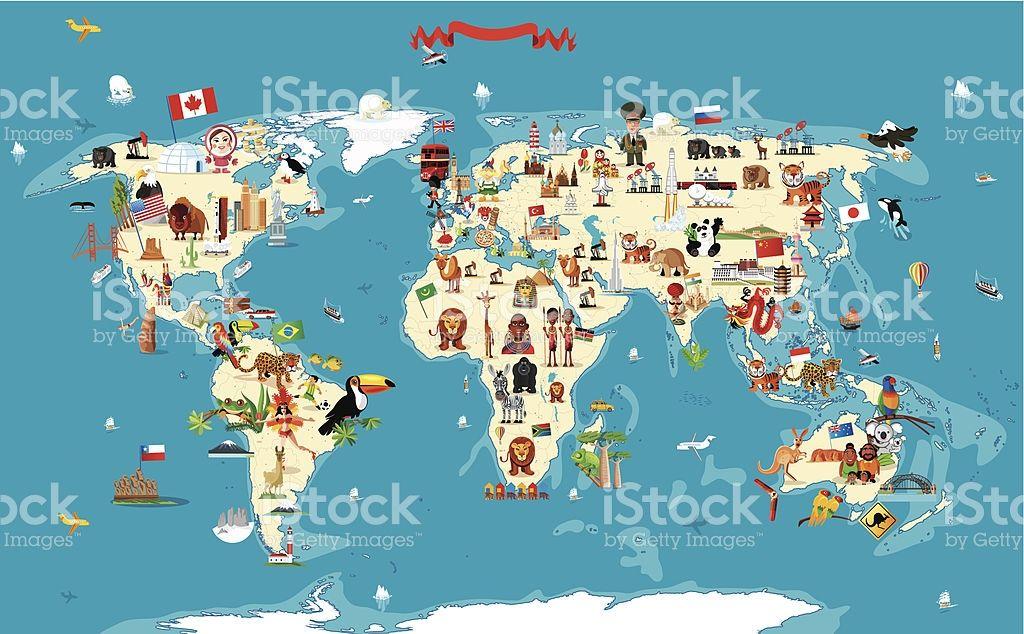 Cartoon map of World   grafico manos   Pinterest