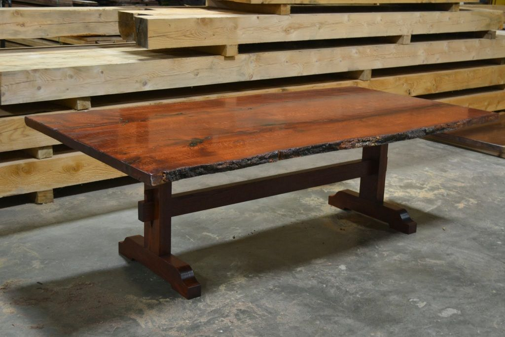 Peachy Stained Red Oak Table Live Edge Slab Tables In 2019 Download Free Architecture Designs Crovemadebymaigaardcom