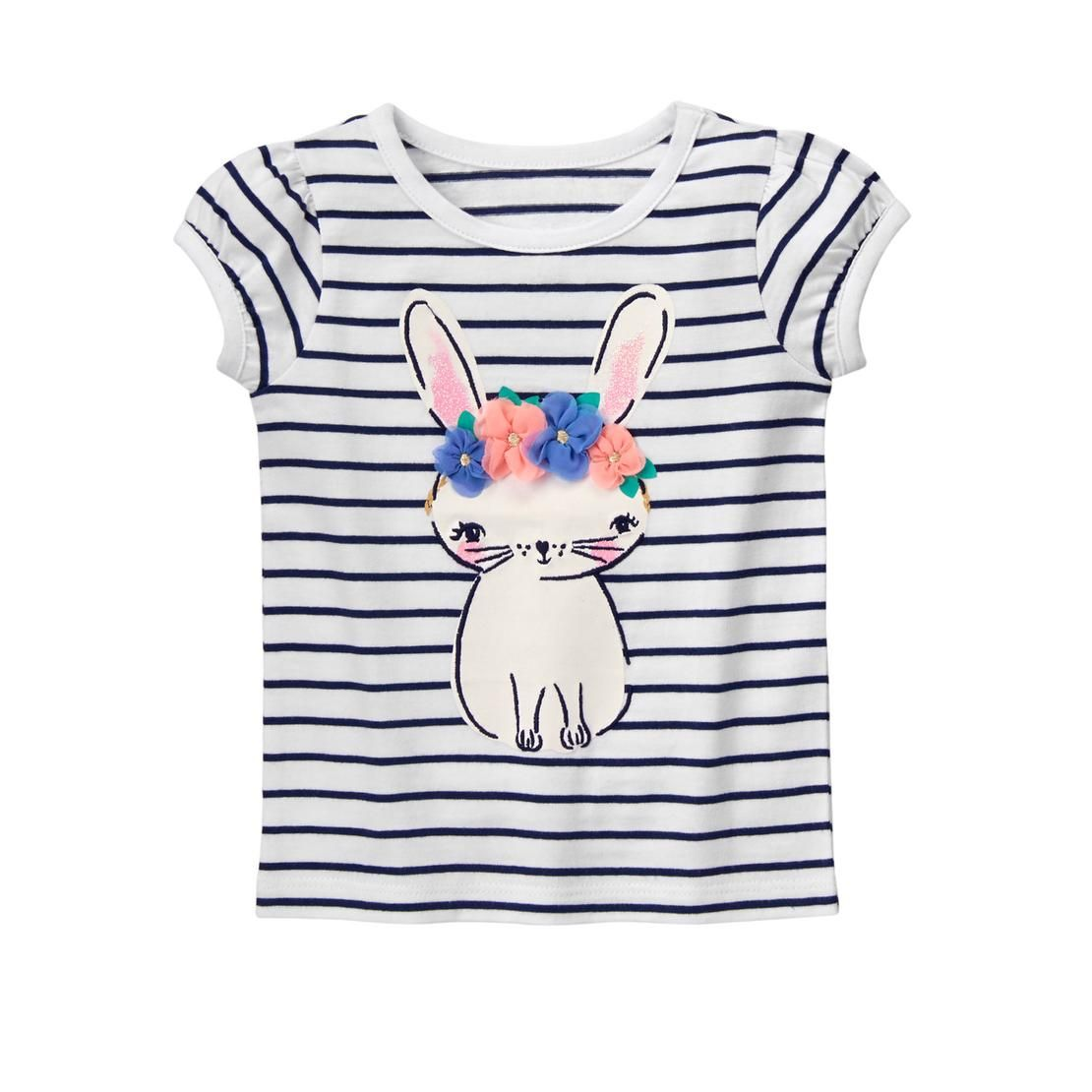 c4ad6f39f Toddler Girls Black Stripe Bunny Flower Tee by Gymboree