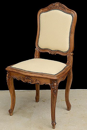 Set Of Antique French Louis XV Style Carved Walnut Chairs Recently  Reupholstered With Ostrich Leather. Origin: France. Circa: 1900.