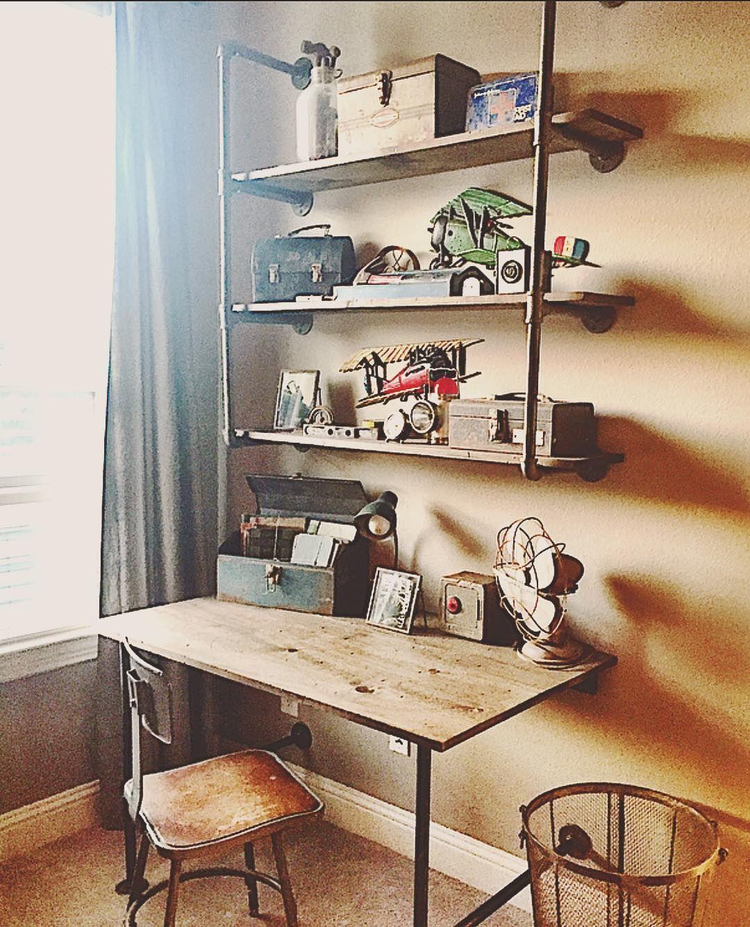 Full Picture Of The Desk And Shelves #carpenterhusband #besthusbandever  #bigboyroom #vintageairplane #vintagefarmhouse