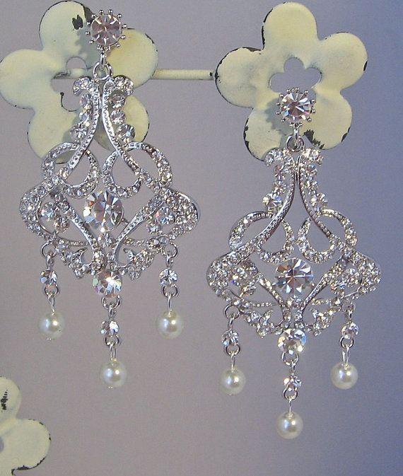 Rhinestone Earrings Chandelier Earrings Pearl by TheRedMagnolia, $68.00