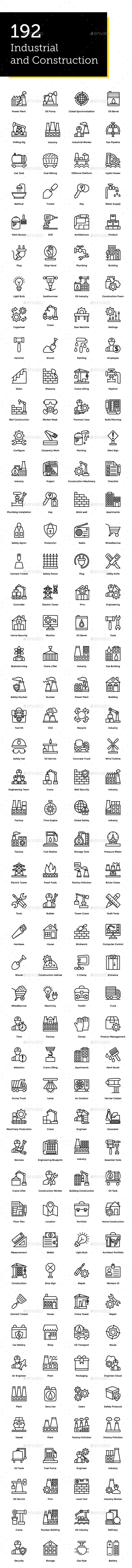 192 Industrial And Construction Icon Icon Factory Icon Icon Design