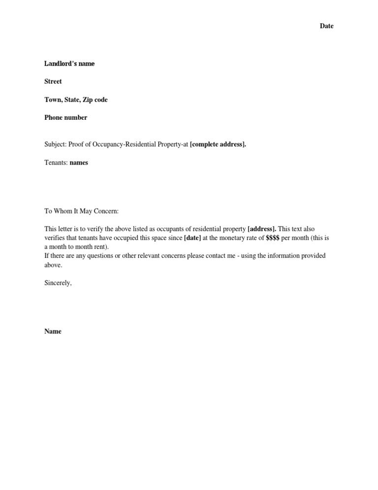 Proof Of Residency Letter Template | Ownerletter co