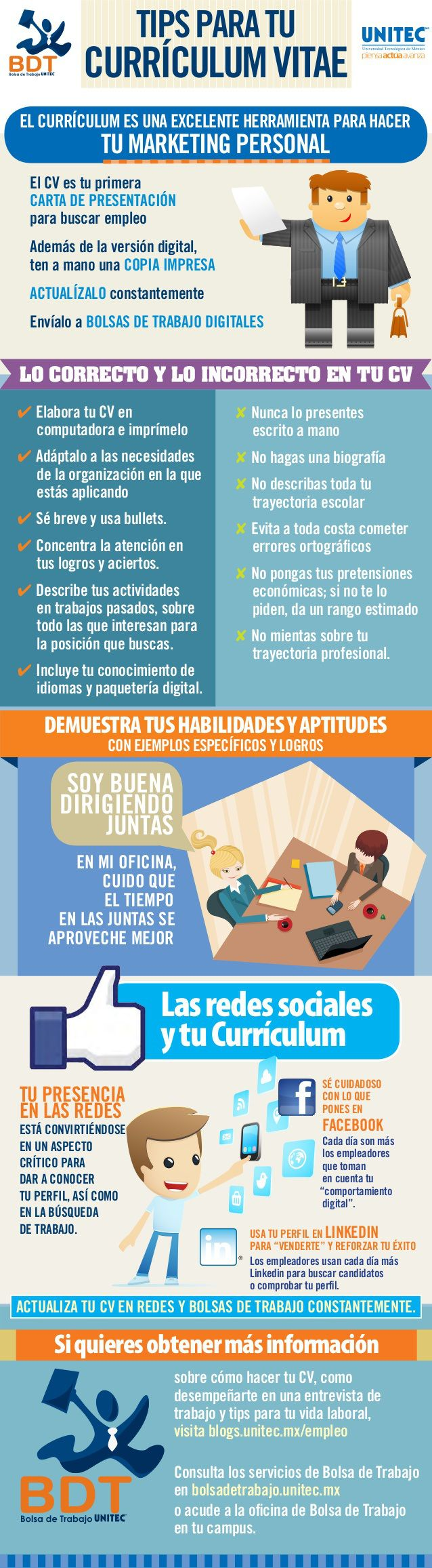 Consejos para tu Curriculum y tu marketing personal #infografia ...