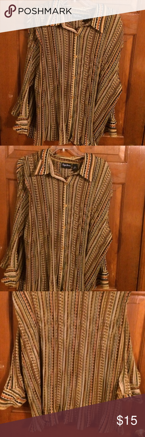 EUC, wore once, Beautiful color & design, EUC, wore once, Beautiful color & design, Botton in front, quarter length double Ruffle sleeves, & Ruffled tail of shirt, very cute, Maggie Barnes Tops Blouses