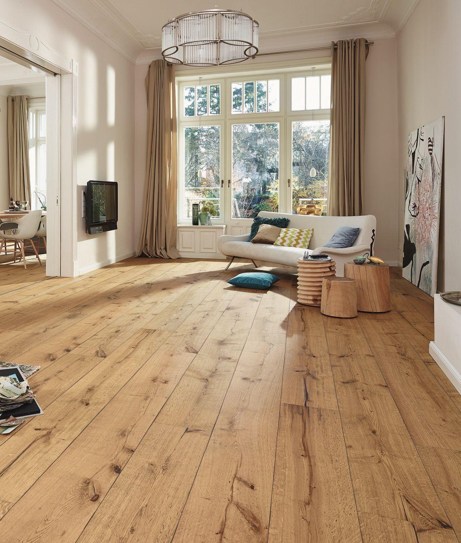 Houten vloer met lange planken Lindura van Meister #houtenvloer #plankenvloer #vloer