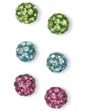 Small Rose, Aqua and Green Crystal Set Of 3 Stud Earrings.  Shine bright in the hottest hues. Unwritten's set of three stud earrings are crafted in clay with rose, aqua and green-colored crystals (4mm) and a sterling silver post setting
