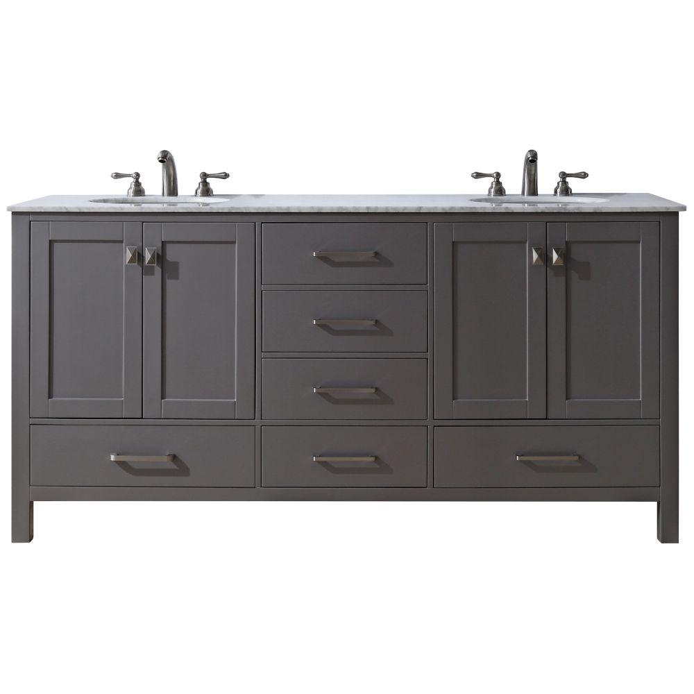 """Malibu 60"""" Gray Double Sink Bathroom Vanity - Style # 10H36"""