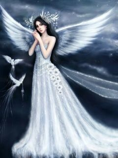 Love Girl Wallpaper Mobile9 : Download Fantasy Angel Girl with Birds in White 240x320 Wallpapers - Fantasy Angel Girl Woman ...