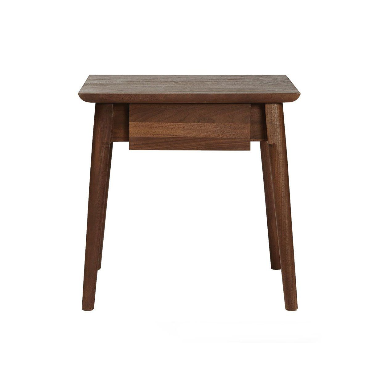 American Walnut Side Table With Drawer Danish Modern Drawers And - Walnut side table with drawer