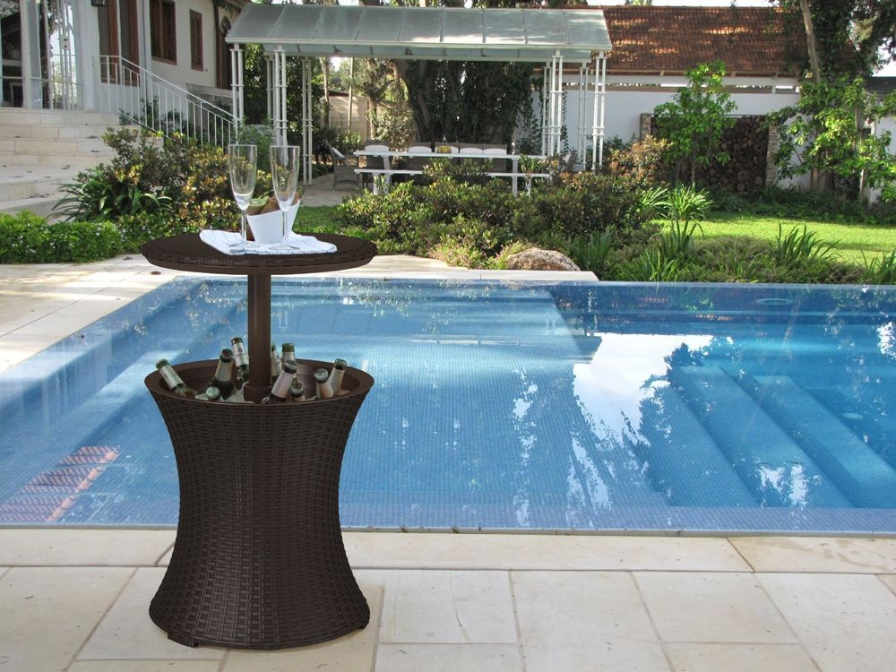 Outdoor Cocktail Bar Table Garden Pull Up Ice Bucket