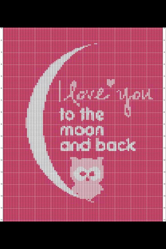 I Love You To The Moon And Back Pixel Patroon Met Uil Graphs Haken