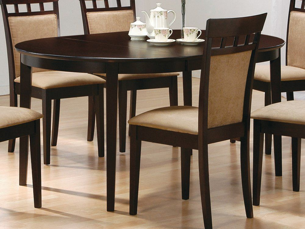 coaster contemporary oval dining table cappuccino finish home kitchen the. Black Bedroom Furniture Sets. Home Design Ideas