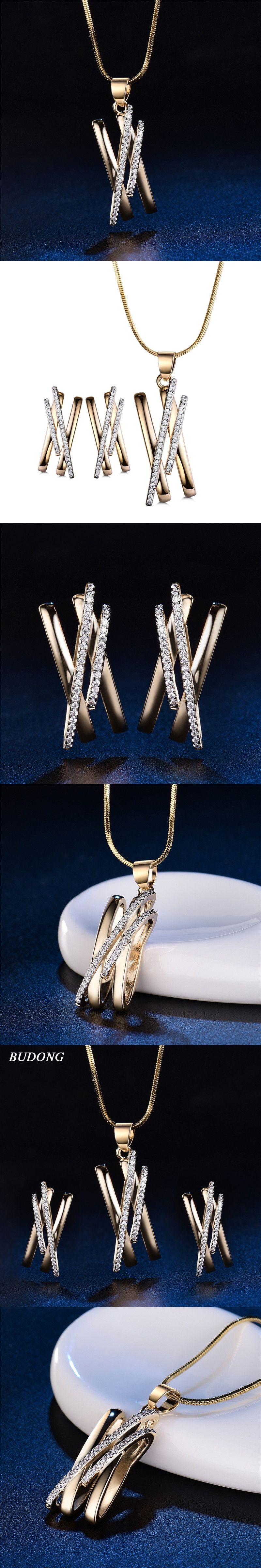 Budong infinity women necklace metallic earrings statement cross