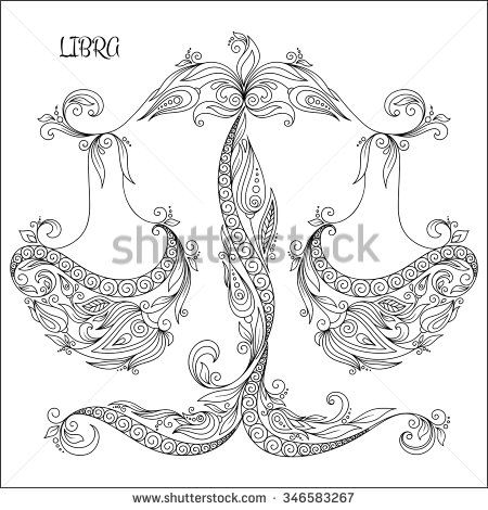 pattern for coloring book hand drawn line flowers art of zodiac libra horoscope symbol
