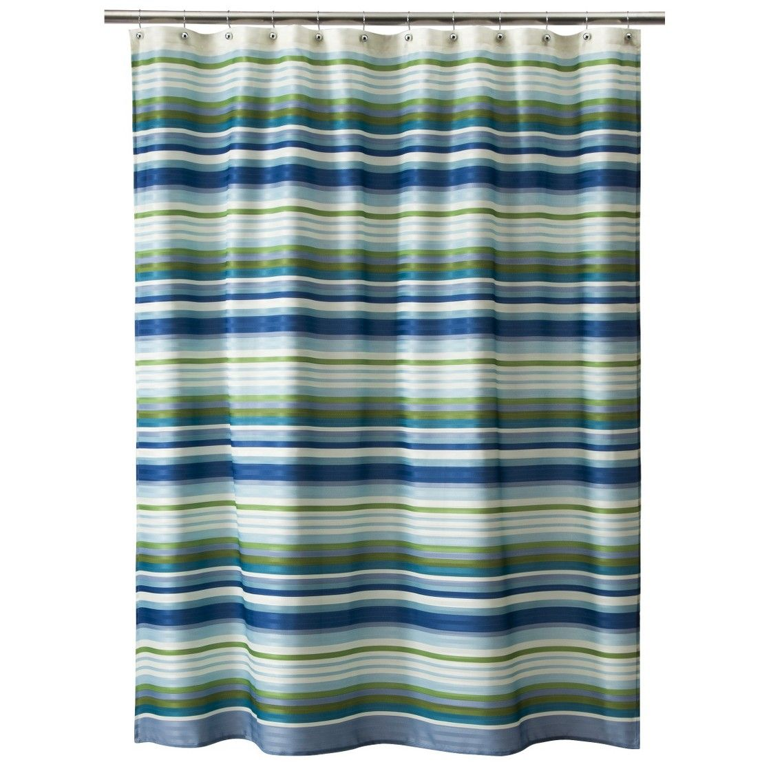 Blue and green striped shower curtain - Threshold Herringbone Stripe Shower Curtain Let U0027s Re Decorate