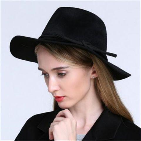 175f2f682e5 Plain black fedora hat for women elegant wide brim felt hats wool blend