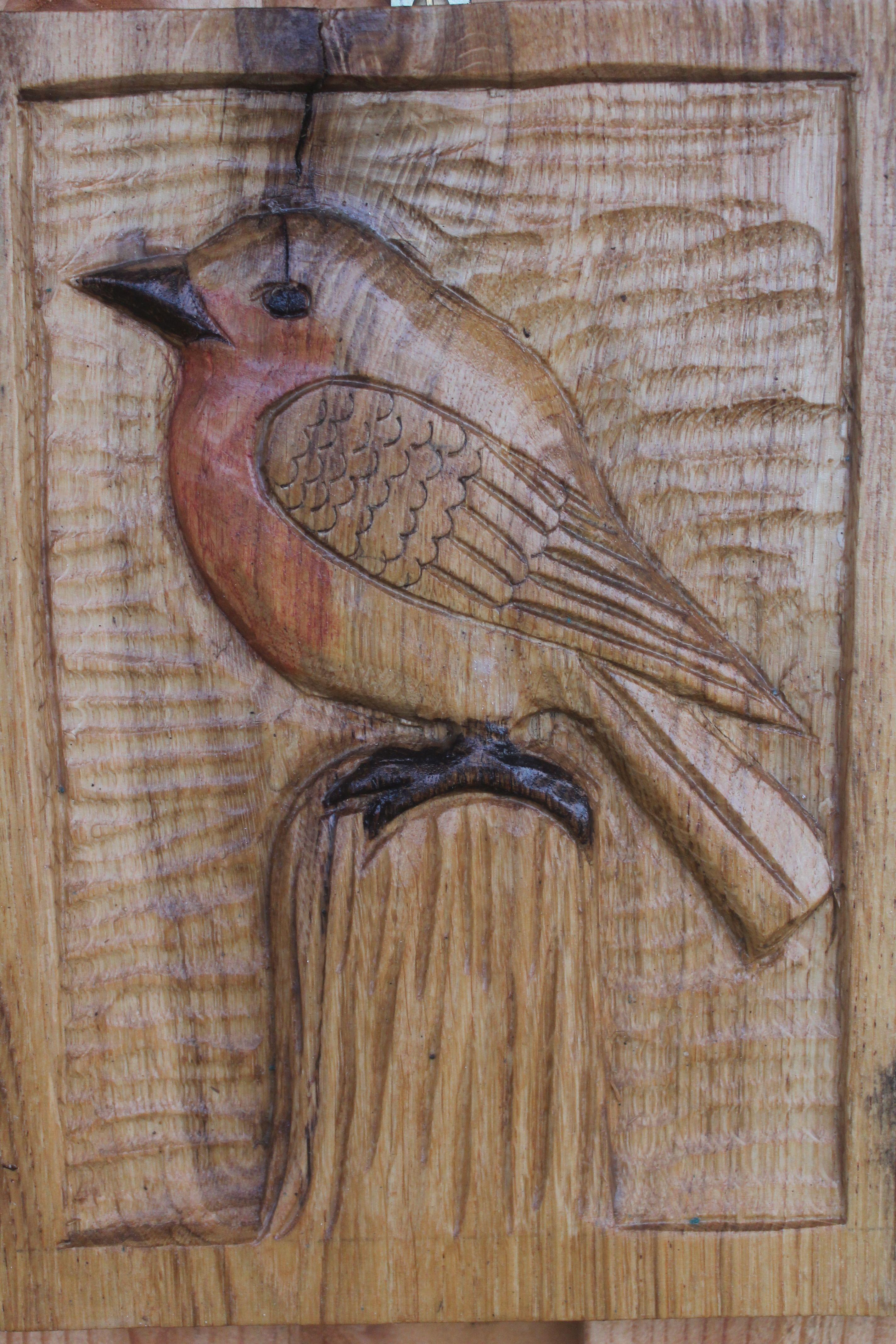 Robin wood carving on bench at denmark farm tallado pinterest