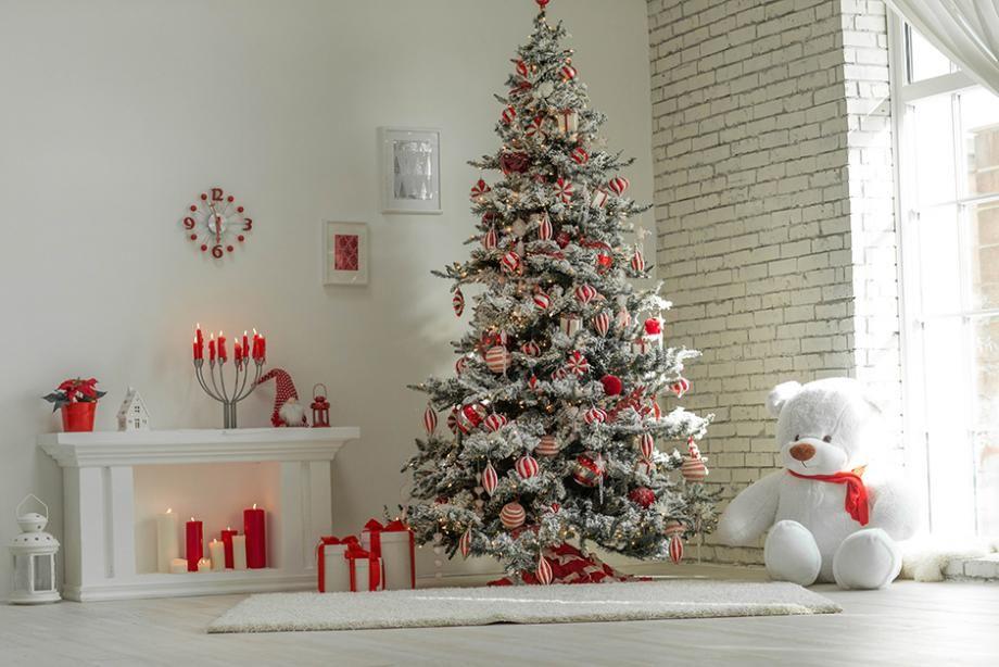 id es d co de sapin de no l rouge et blanc sapin de no l. Black Bedroom Furniture Sets. Home Design Ideas