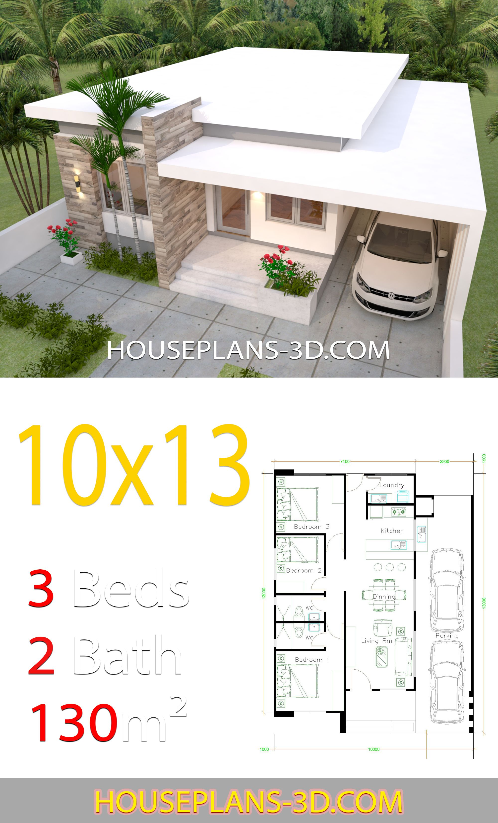House Design 10x13 With 3 Bedrooms Full Plans House Plans 3d In 2020 House Construction Plan Unique House Design Small House Design Plans
