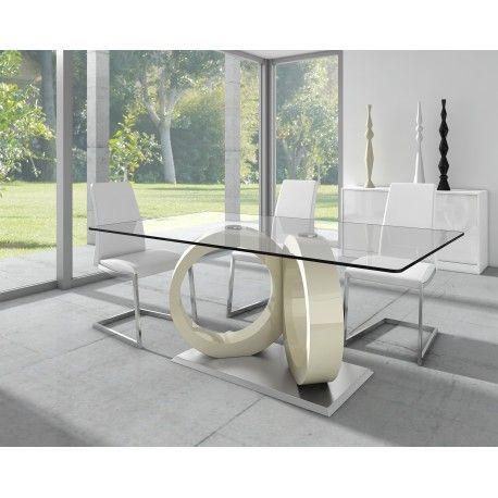 Mesa de comedor minimalista con cristal color blanco for Comedores minimalistas de cristal